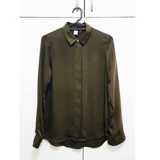 H&M Overrun Long Sleeve Top (Army Green)