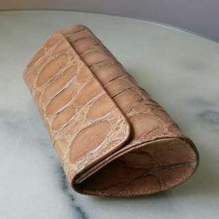 BN JALDA Croc Clutch in Natural Beige