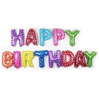 Rainbow foil Happy Birthday Balloons