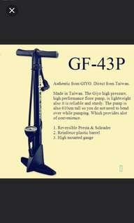 Brand new! GIYO GF-43P PLASTIC FLOOR PUMP 160psi Max