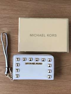 Michael Kors White Leather Gold Studded Purse