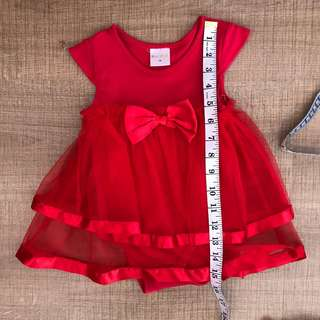 9m baby red ribbon tutu dress