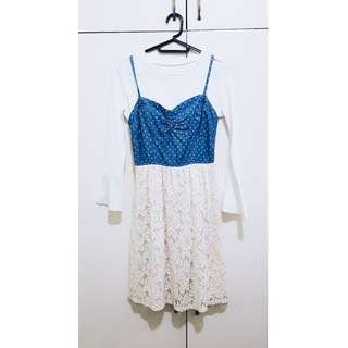 Korean Style Denim and Lace Dress (Top not included)