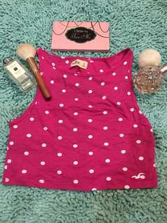 Hollister Pink Polkadots Cropped Top