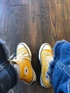 🚚 Converse Taylor All Star 70 1970 芥末黃高筒帆布鞋 22.5cm