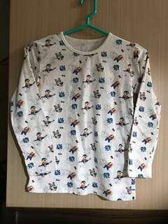 免運費❗️全套睡衣 熊出沒 兒童 睡衣 睡褲 長袖 長褲 圓領 彈性好 白色 卡通圖案 冷氣房 純棉 購於澳門