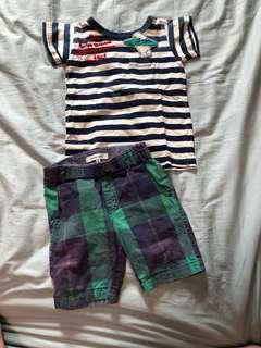🚚 日本專櫃可愛男童上衣/GLOBAL WORK可愛男童格子短褲