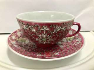 Red lotus scroll (Bao Xiang Hua) teacup and saucer with Double Happiness (Shuang Xi) character