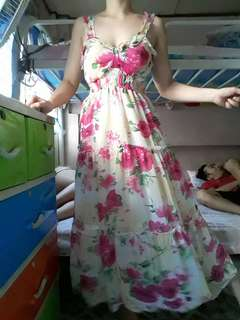 Floral padded maxi dress