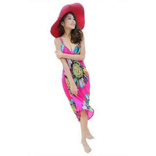 New Dress Pantai Pink Ikat Leher Mat Chiffon Import Fit to L