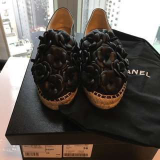 🆕Chanel Camellia Flower Espadrilles 36 Shoes
