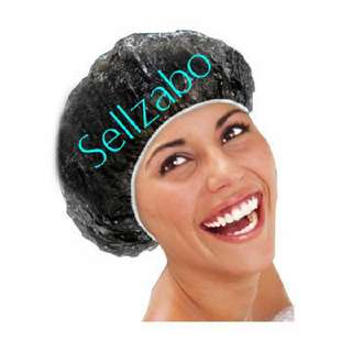 10 Pieces Black Disposable Hair Caps : Head : Hats : Covers : Shower : Bath : Bathe : Wash : Mask : Colour : Dry : Protect : Protection : Waterproof : Sellzabo