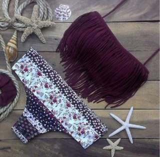 NEW purple tassel bikini, Sz 6-8