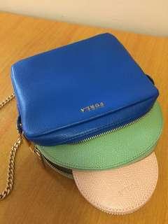 Furla Primavera crossbody pouch + cosmetic case + coins bag 彩藍斜孭小手袋/化妝袋 + 薄荷綠化妝袋 + 粉橙散銀包 (一套三件)