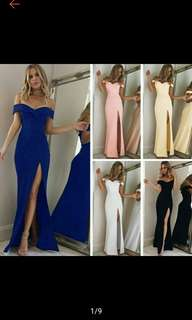 Long Dress Strapless Off Shoulder High Slit Party Dress Gown