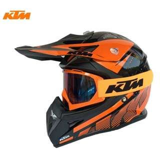 INSTOCK SIZE L includes FREE GOGGLES ★ KTM Full Face Motorcycle Helmet Motocross Scrambler Offroad Dirt Bike ★ New Arrivals and ready stock★ Orange Black