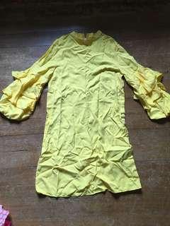 Zara bright yellow dress
