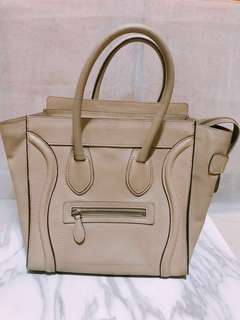 Celine Micro Luggage Leather Bag in Drummed