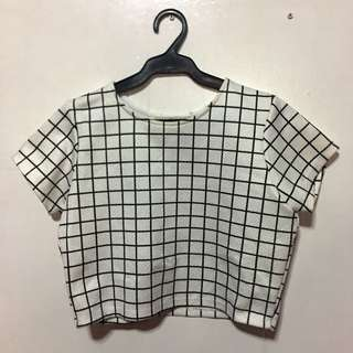 White Grid Crop Top