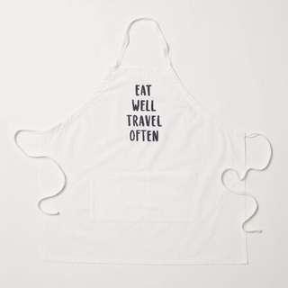 正品 H&M apron with text motif 有機棉圍裙 eat well travel often