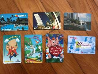 Vintage Singapore Phone Cards (Sharity Elephant, Warner Brothers) and MRT Ticket.. OMG!