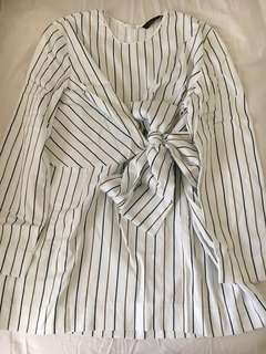 Zara Stripes Bow Blouse