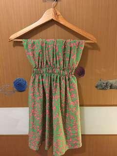 平口鬆緊綠洋裝