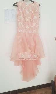 Peach premium dress rok menjuntai