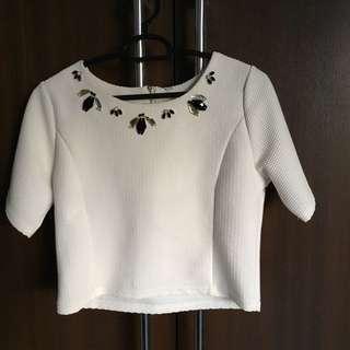 White Jewel Crop Top