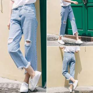 Ripped High Waisted Boyfriend Denim Jeans