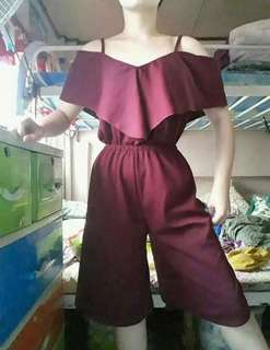 Maroon jumpsuit cullotes