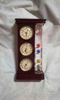 Classic Wooden Clock, Barometer, Hygrometer & Galileo Thermometer Decor