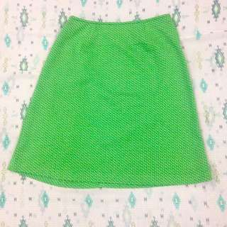 SKIRT: Green with small prints