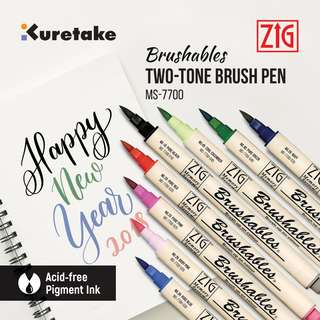 Kuretake MS-7700 Zig Brushables Two-Tone Brush Pen (24 color available) LIST 1/4
