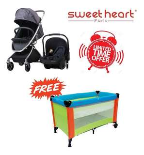 3 in 1 Stroller, Baby Carrier & Playpen