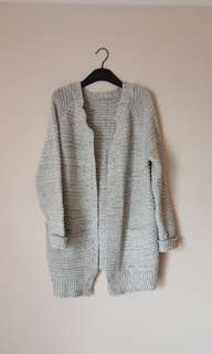 Grey knit cardigan with pockets