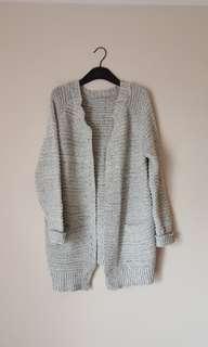 Grey knit cardigan with pockets
