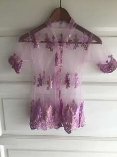 Kebaya Lace for Kids in Lilac (NEW)