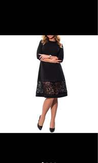 Lace Matching Solid Colour Medium Sleeve Dress