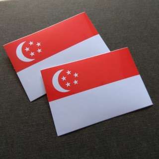 2pcs Singapore Flag Vinyl Sticker Laptop Luggage Skateboard