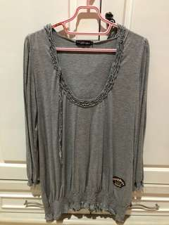 Grey dress with hoodie (made in japan)