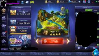 Mobile Legend account 18k diamond+100skin. good deal free 1account