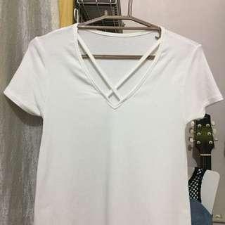 White Ribbed Criss Cross Shirt Dress