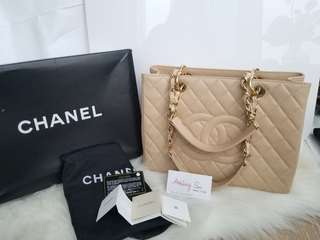 Chanel GST beige caviar with gold hardware