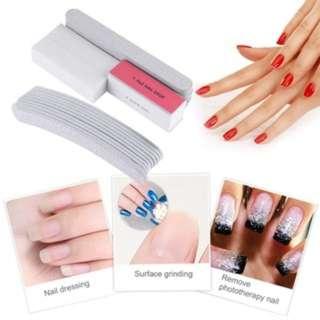 (490)Manicure Tool Kit 10pcs Nail File+2pcs Polishing Buffer+Sanding Stripe Set