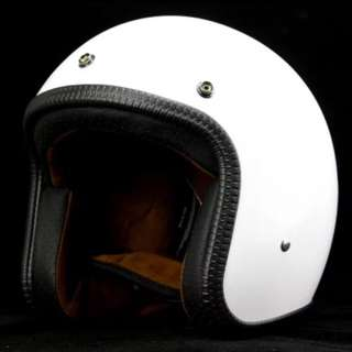 Gloss White Motorcycle Helmet Open Face Three Button Snap Retro Vintage Vespa Scooter Cafe Racer Motorbike Leather Gloss Old School Harley Davidson