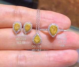 一套優惠💎天然黃鑽18k白金鑽石戒指吊墜頸鏈耳環🎁生日禮物推薦珍藏