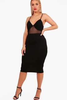 BOOHOO black jersey stretch midi skirt new Without Tags