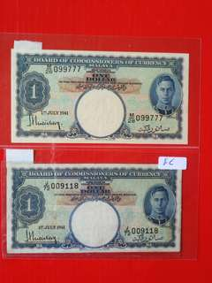 Malaya $1 1941 2 pieces  vf condition