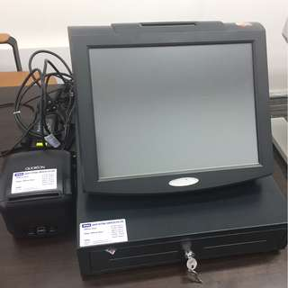 USED TOUCH POS WITH THERMAL PRINTER AND CASH DRAWER ,FREE 30+ ROLLS PAPER